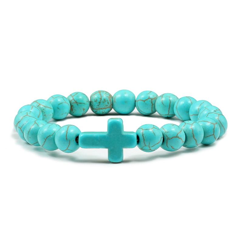 Trendy Jesus Cross Charm Blue Turquoises Men Bracelet Black Lava Stone 8mm White Beads Bracelets Bangles for Women Yoga Jewelry 2
