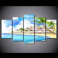 5 Piece Canvas Art HD Print Comic Tropical Coastal Village Paintings For Living Room Wall Posters And Prints