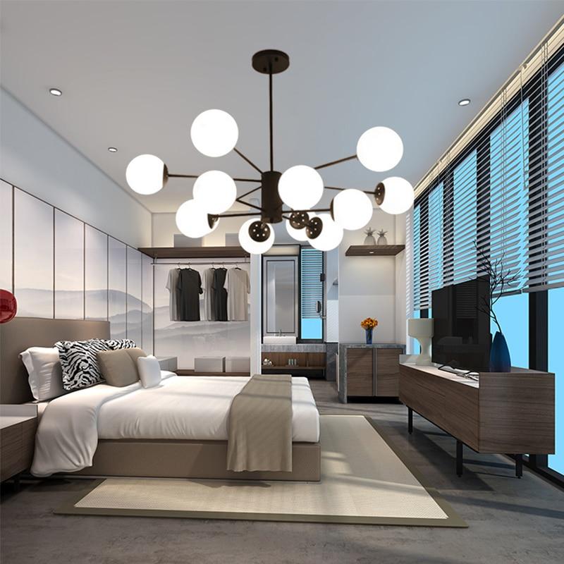 Nordic Modern Chandelier lighting Living Room Bedroom pendant Lamp Lustres Home Decor Lights Glass Wrought Study Dining lustre in Chandeliers from Lights Lighting