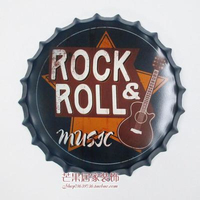 ROCK&ROLL Large Beer Cover Tin Sign Logo Plaque Vintage Metal Painting Wall Sticker Iron Sign Bar KTV Store Decorative 35X35 CM