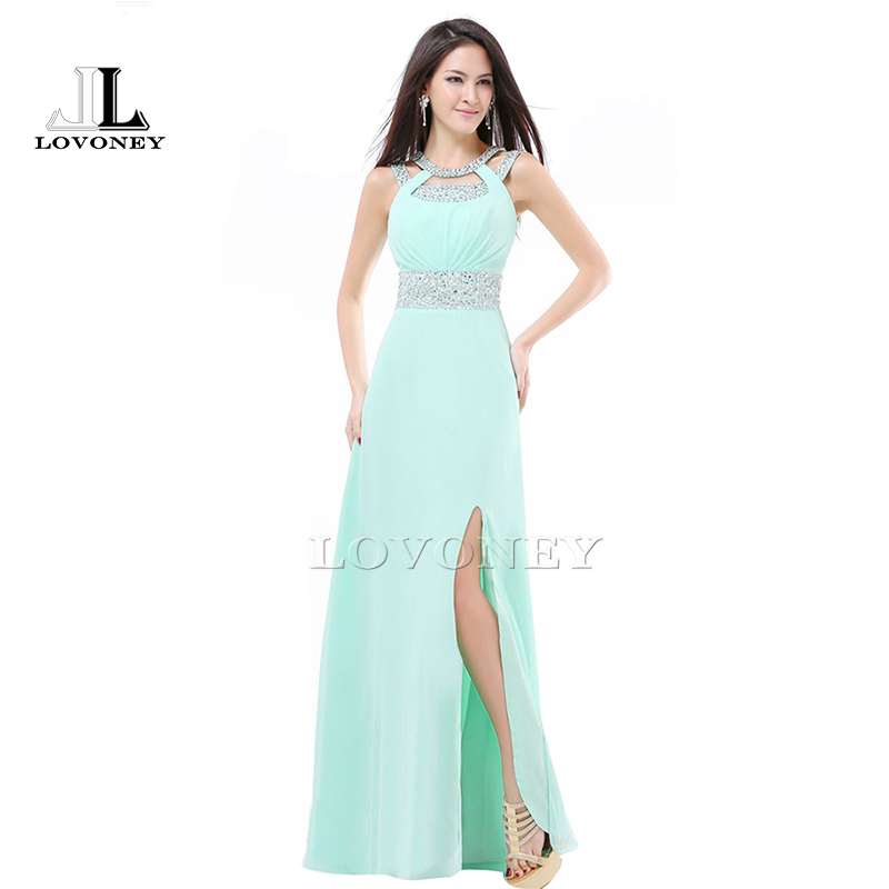 2019 New Design Side Split Plus Size Lungo verde menta economici abiti da damigella d'onore sotto $ 50 Long-Party-Dress S322C