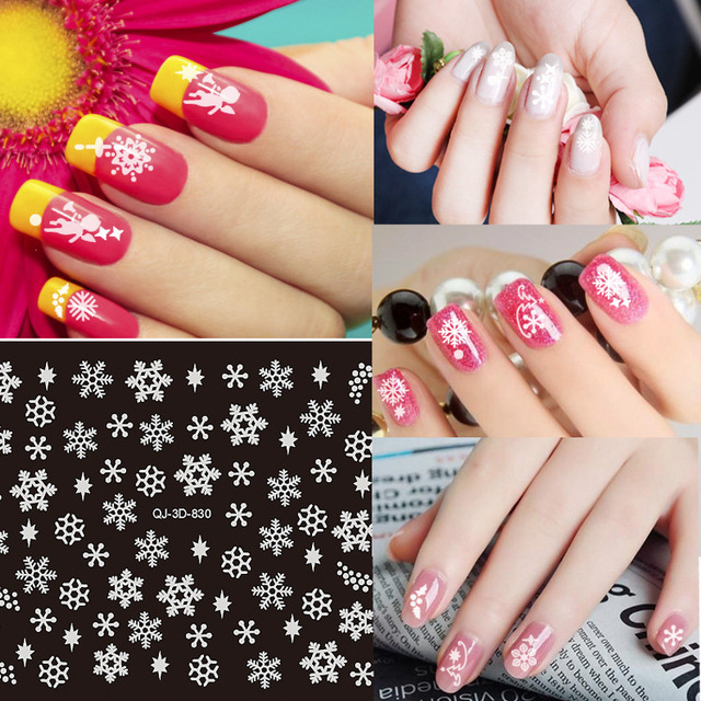 1pcs Snow Nail Art Decals Christmas Water Transfer 3d Snowflake