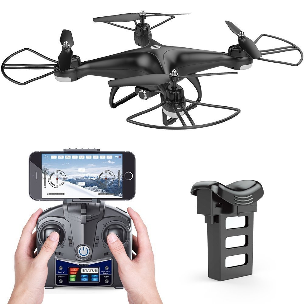 Holy Stone HS110D FPV Drone with HD Camera RC Helicopter WiFi APP Control 6-Axis Gyro Altitude Hold Modular Battery Quadcopter mjx x601h wifi fpv 720p cam air pressure altitude hold 2 4ghz app control 4 channel 6 axis gyro hexacopter 3d rollover
