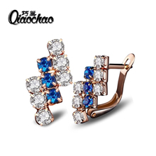 New Gold Jewelry Big Zircon Crystal Gold-colour Hoop Earrings for Women Luxury Wedding Bridal Jewelry