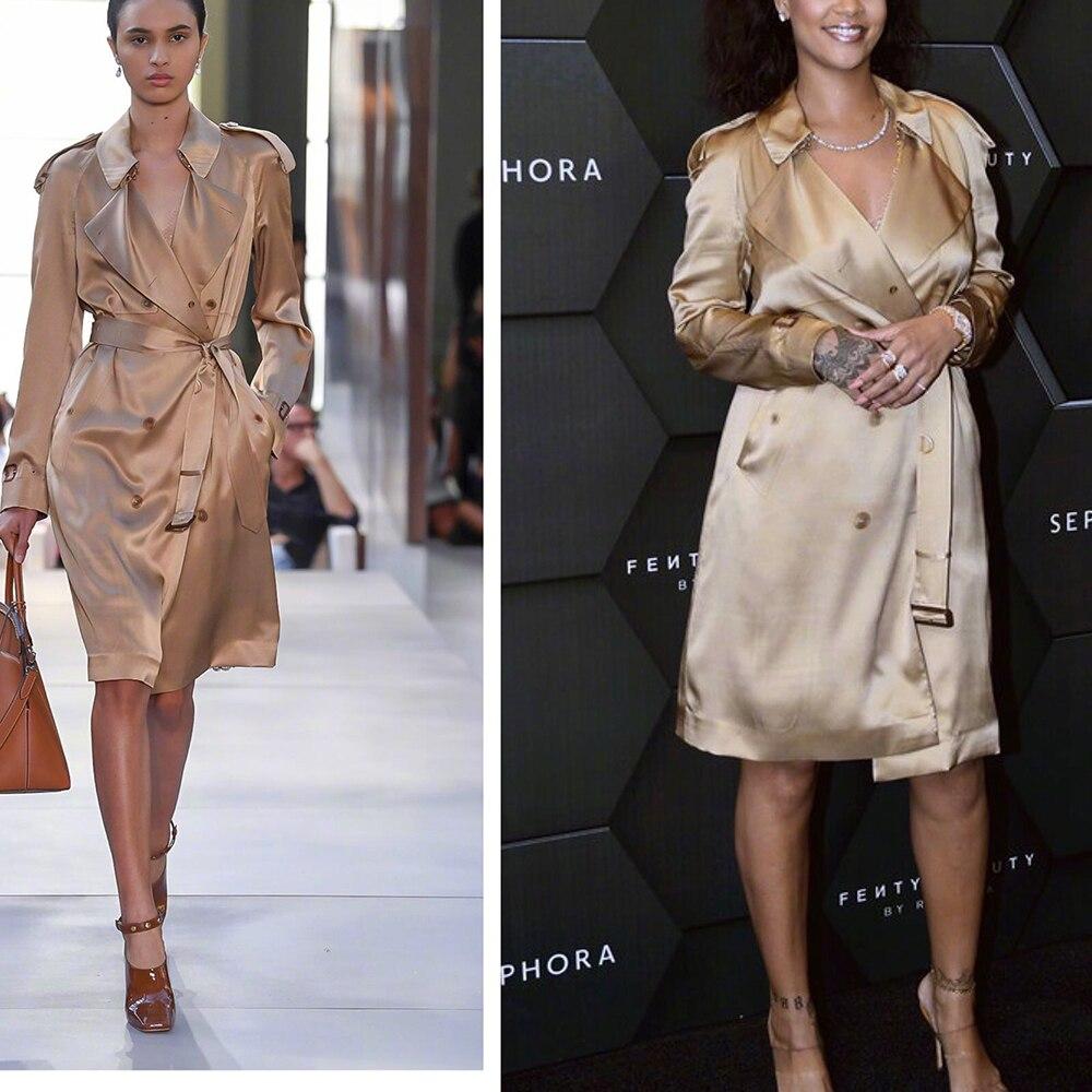 2019 high-end custom made 100% silk khaki   trench   coat for women big lapel double breasted belt fashion runway long coat outwear