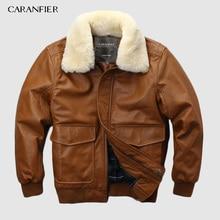 CARANFIER Air Force Flight Suit Pilot Fur Collar Thick Warm Leather Jacket Genuine Sheepskin DHL Free Shipping