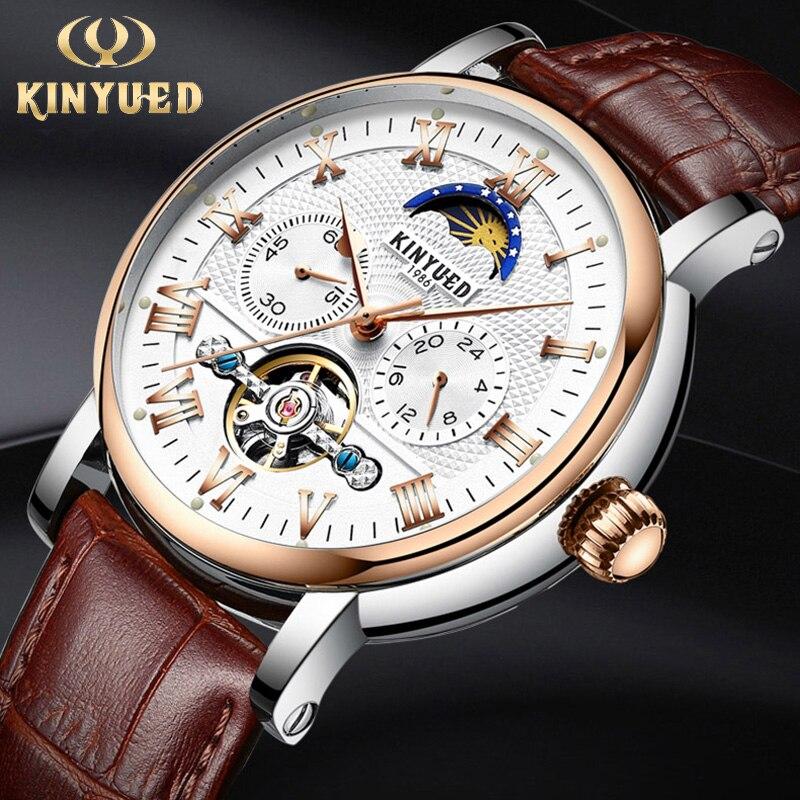 KINYUED Luxury Moon Phase Automatic Watch Men Chronograph Tourbillon Mens Skeleton Mechanical Watches Brand Relogio Masculino