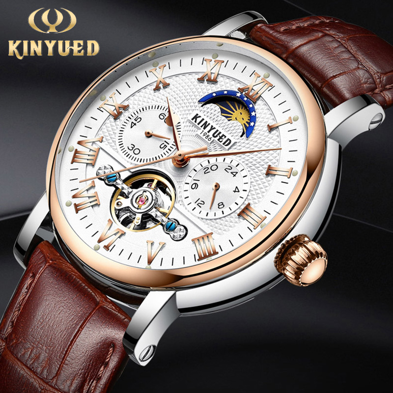 KINYUED Luxury Moon Phase Automatic Watch Men Chronograph Tourbillon Mens Skeleton Mechanical Watches Brand Relogio Masculino