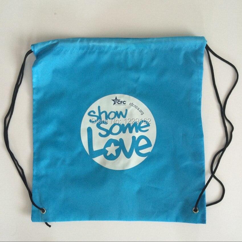Impresión personalizada bolsa con cordón de poliéster (300 unids/lote) 30x40 cm bolsa de regalo promocional zapatos bolsa de almacenamiento mochila con cordón - 4