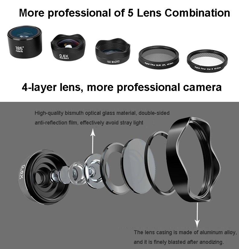 5in1 4 K HD Telefoon Camera SLR Lens Kits: foto Filter CPL & Star 8 & Statief + Awesome Fisheye & Groothoek & Macro Lenzen voor Smartphones - 5