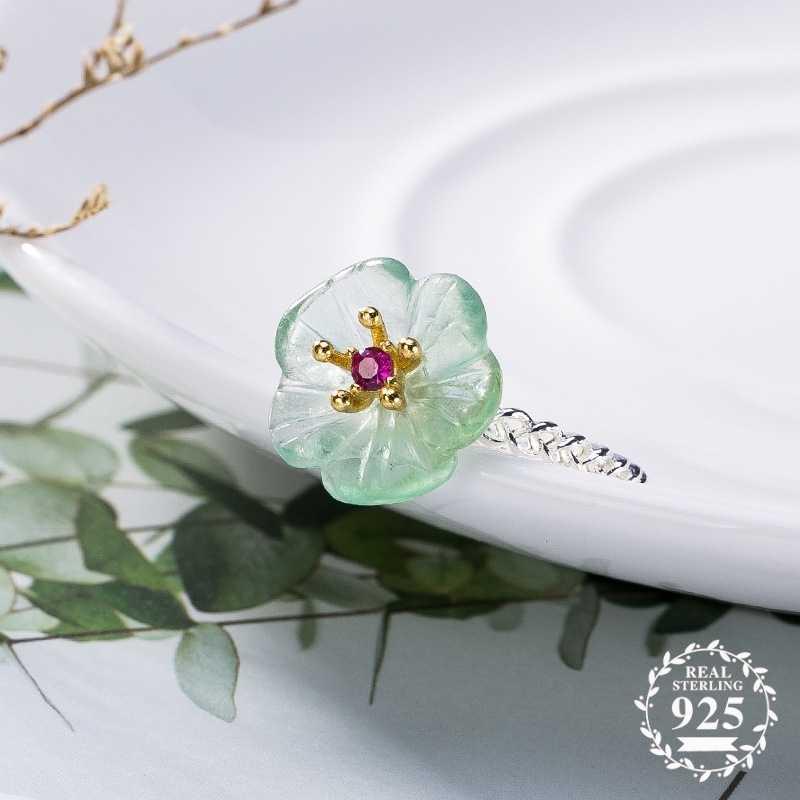 ไม่ปลอม S925 Fine Antique shop แหวน 925 เงินสเตอร์ลิงผู้หญิง Handmade Vintage ธรรมชาติ Retro ประณีตหยกสีเขียวฤดูร้อน