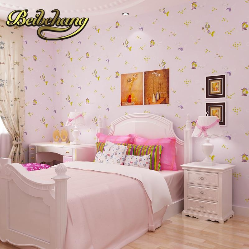 bcf86eaef Beibehang ورق الحائط. بيون فتاة غرفة الكرتون الأطفال غرفة نوم متجر البيئية  غير المنسوجة خلفيات المحيط حورية البحر