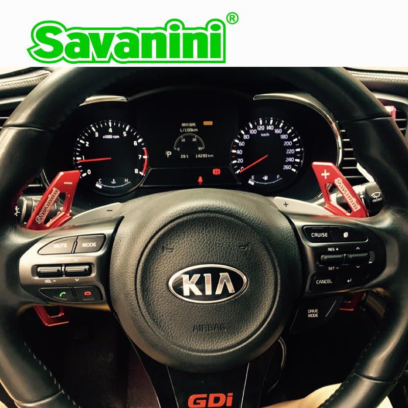 Savanini 2pcs Aluminum Steering Wheel Shift Paddle Shifter Extension For Kia K5(2014) Auto Car styling with 3M tape sticker free