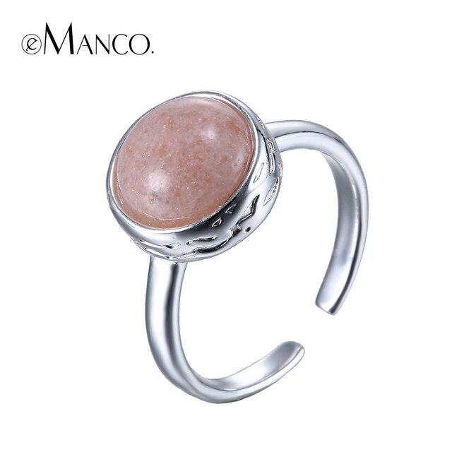 Anillos de piedra natural para mujer anillo de apertura de cobre de piedra semipreciosa Rosa Chapado en plata joyería de dedo de metal bague femme