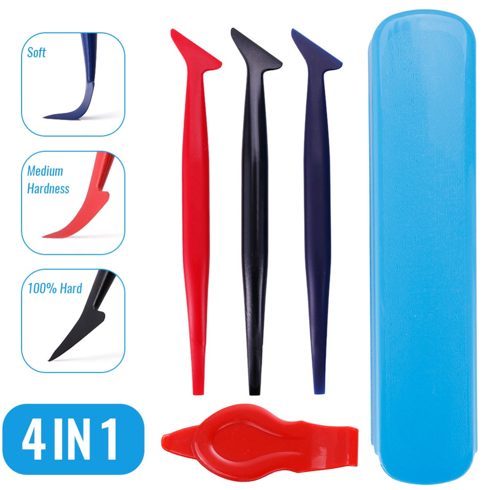 4in1 Hard /& Soft Micro Squeegee Set for Vinyl Car Wrapping Flim Wrap Edge Tuck