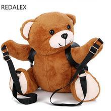 Redalex осень и Новинка зимы плюшевый медведь рюкзак женщины Школьные ранцы для девочек-подростков мультфильм 3D путешествие в подарок рюкзак Mochila