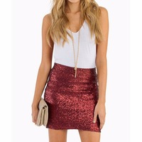 Wine Red Shiny Sequined Short Skirts Women Pencil Sexy Mini Skirt Custom Made High Quality Skirt Women Clothing Fashion Bottoms