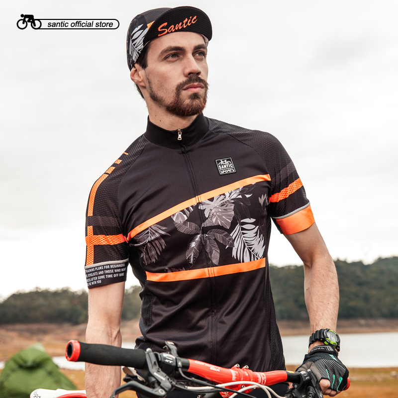 цена на Santic Men Cycling Jersey Short Sleeve Pro Fit Antislip Sleeve Cuff Road Bike MTB Short Sleeve Jersey Summer Asia size M8C02128