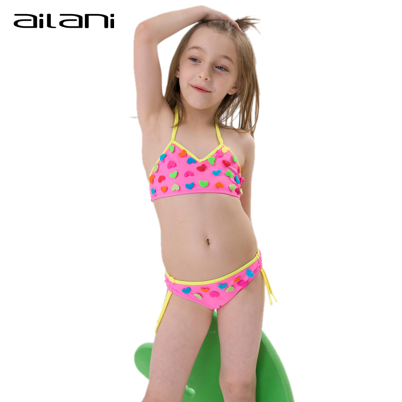 efbe8bebf4c Lovely Summer Bikini Girls Heart Swimwear Solid Newest Patchwork ...