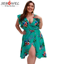 SEBOWEL 2019 Summer Sleeveless V-neck Plus Size Print Dresses Woman Wrapped Sexy Boho Floral Dress for Female Big XL-4XL