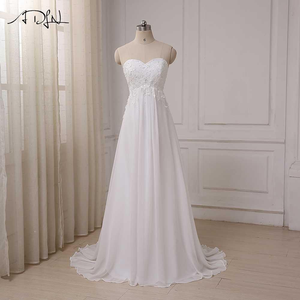 bbecc464dda ADLN дешевое свадебное платье Милая империи шифон пляжные свадебные платья  Аппликация из бисера для беременных невесты