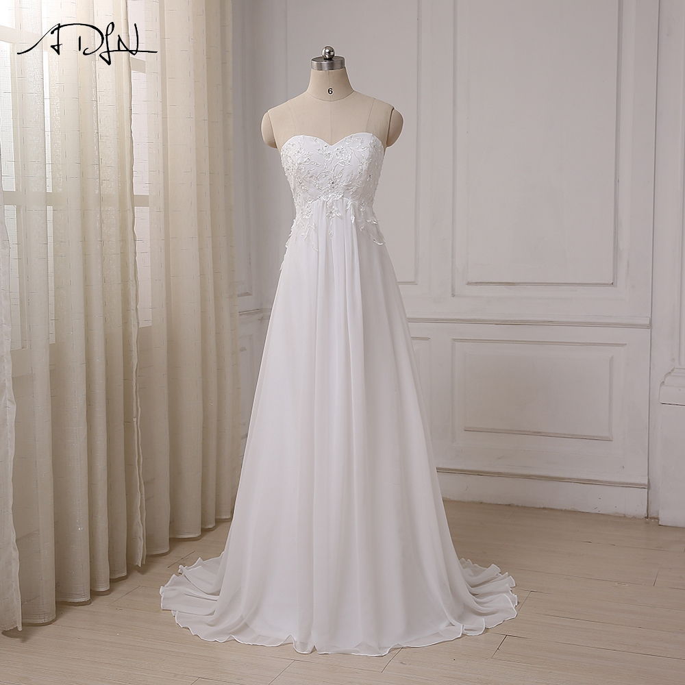 ADLN 2017 Cheap Wedding Dress Sweetheart Empire Chiffon Beach Bridal Gowns Beaded Applique Pregnant Bride Dress Plus Size
