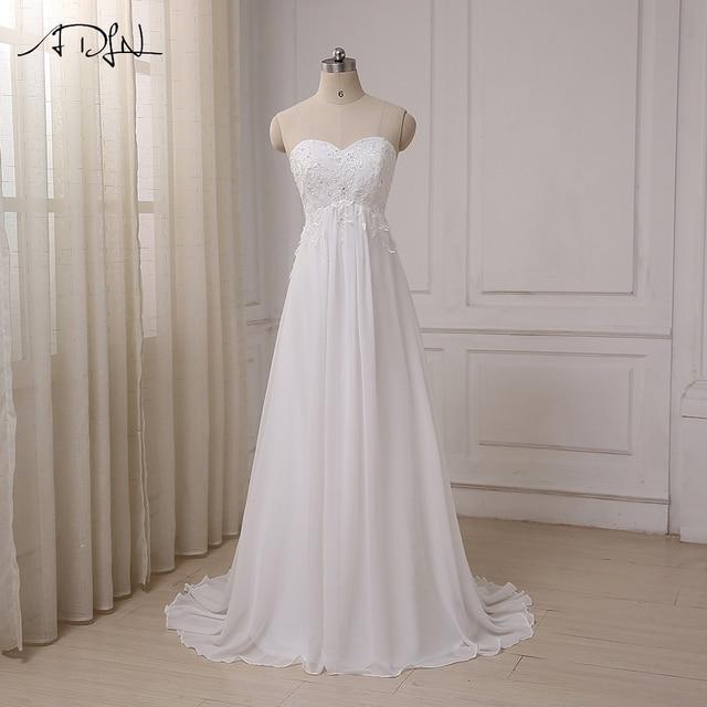 ADLN 2017 Günstige Hochzeitskleid Schatz Reich Chiffon Strand ...