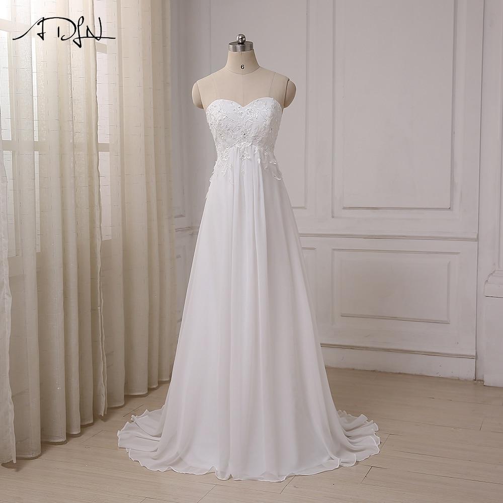 ADLN  Cheap Wedding Dress Sweetheart Empire Chiffon Beach Bridal Gowns Beaded Applique Pregnant Bride Dress Plus Size