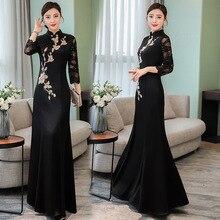 Женское платье большого размера, M-3XL, весна, новинка, чонсам, длинный рукав, Черное длинное платье, высокое качество, сексуальное, элегантное, vestidos