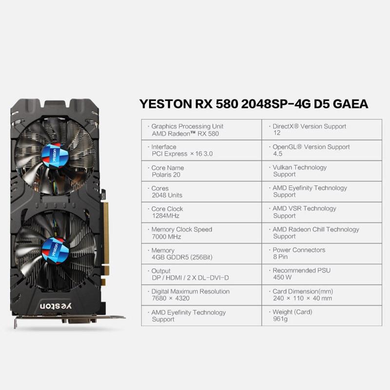 HOT SALE] Yeston Radeon RX 580 GPU 4GB GDDR5 256bit Gaming
