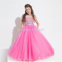 Sweet Pink Cheap Flower Girls Dresses 2016 For Weddings Ball Gown Tank Crystal Top New Fashion Girls Pageant Dress Formal Gowns