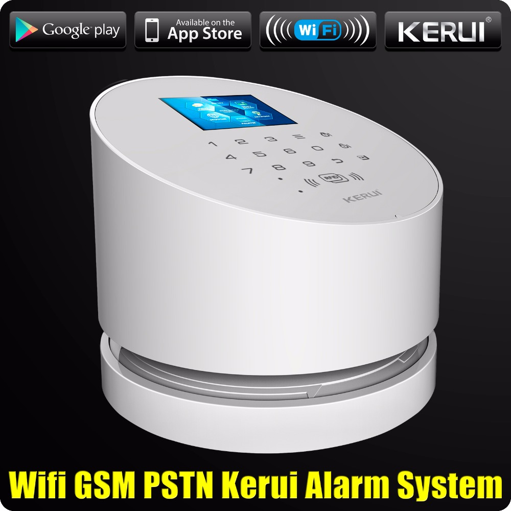 2019 KERUI W2 WiFi GSM PSTN RFID Home Alarm Security System TFT color LCD Display ISO Android App Remote Control WiFi Alarm RFID 1