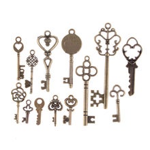 13 Pcs Vintage Charms Mixed Keys Pendant Antique Bronze Key Charms Fit Bracelets Necklace DIY Metal Jewelry Making Wholesale(China)