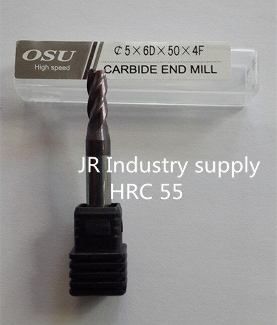HRC 55 5 6D 50 4F OSU carbide end mills 1pcs 1lot