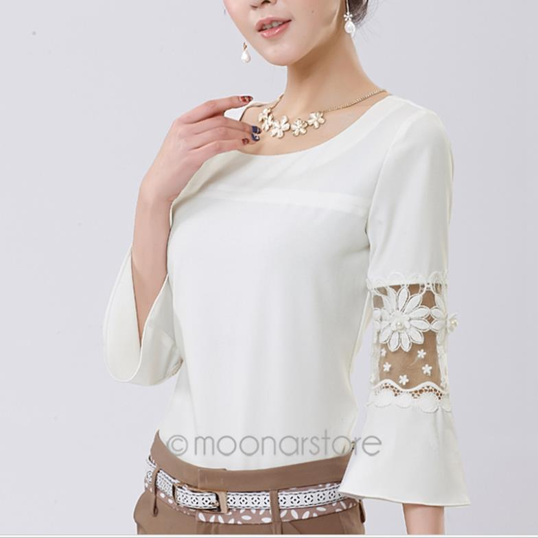 Fashion Design Women Korea Style Flared Peplum O Neck Shirts Chiffon Lace Sleeve Blouse Tops