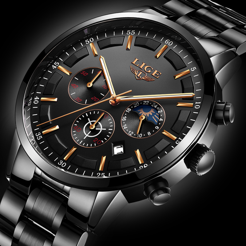 Men's Watch Top Luxury Brand LIGE Men Waterproof Quartz Watches Dress Business Fashion Full Steel Black Moon Phase Male Clock lige luxury brand men s waterproof quartz watch men watches full steel dress business fashion casual military black male clock
