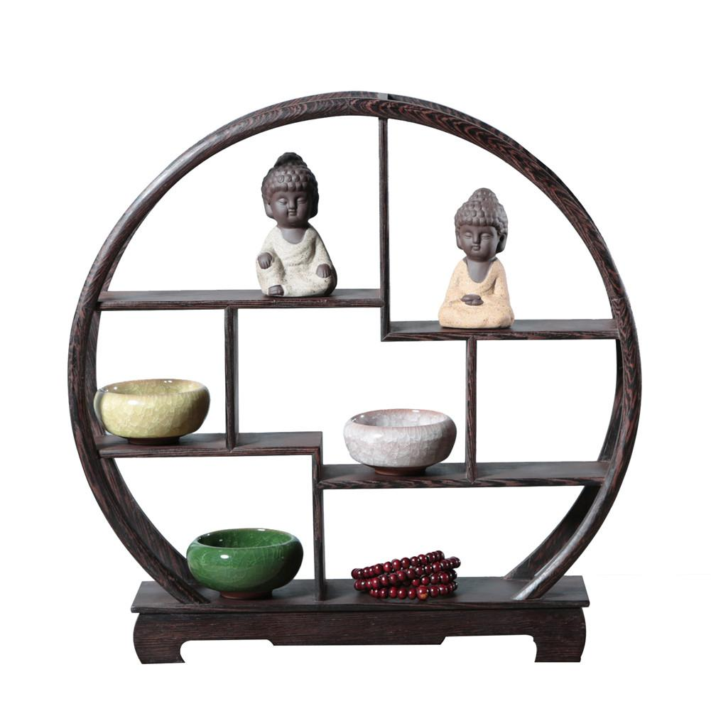Delicate Solid Wood Antique Display Frame Wooden Display Shelf Chinese Style Door Frame Made Antique Shelf