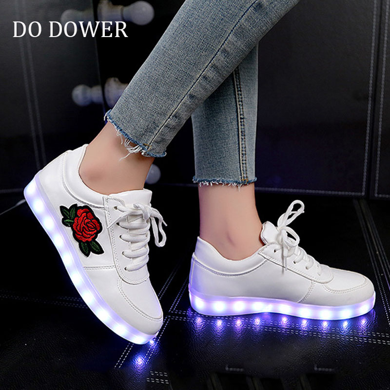 2018 usb charge new brand print flower glowing sneaker boy&girl shoes luminous sneakers children shoes led with ligth up ...
