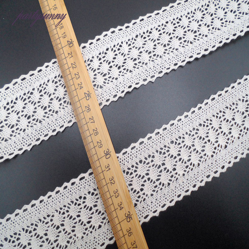 PF 1Yard 6cm White Cotton Lace Ribbon Braid Band Wide Lace And Trim For  Sewing Accessories Wedding Curtain Home Decoration HB005