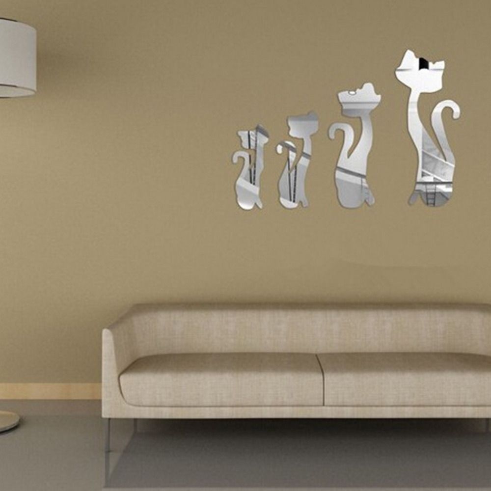 Nursery Mirror Wall Decor : D cat mirror wall stickers set
