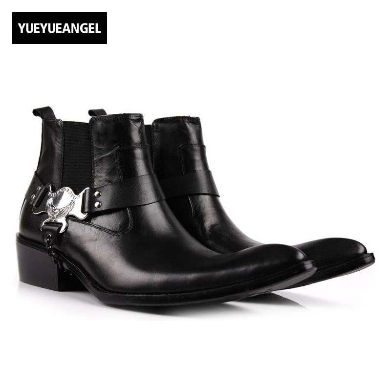 2018 New Luxury Runway Man Handmade Brand Punk Shoes Male Designer Genuine Leather Cowboy Mens Pointed Toe Chelsea Ankle Boots luxury brand formal designer british man shoes genuine leather handmade men s chelsea cowboy martin ankle boots jd67
