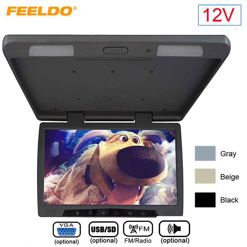 FEELDO DC12V Bus Car 19 Inch Roof Mounted TFT LCD Monitor Flip Down Monitor With Touch Button VGA/USB SD/FM/Speaker #1295