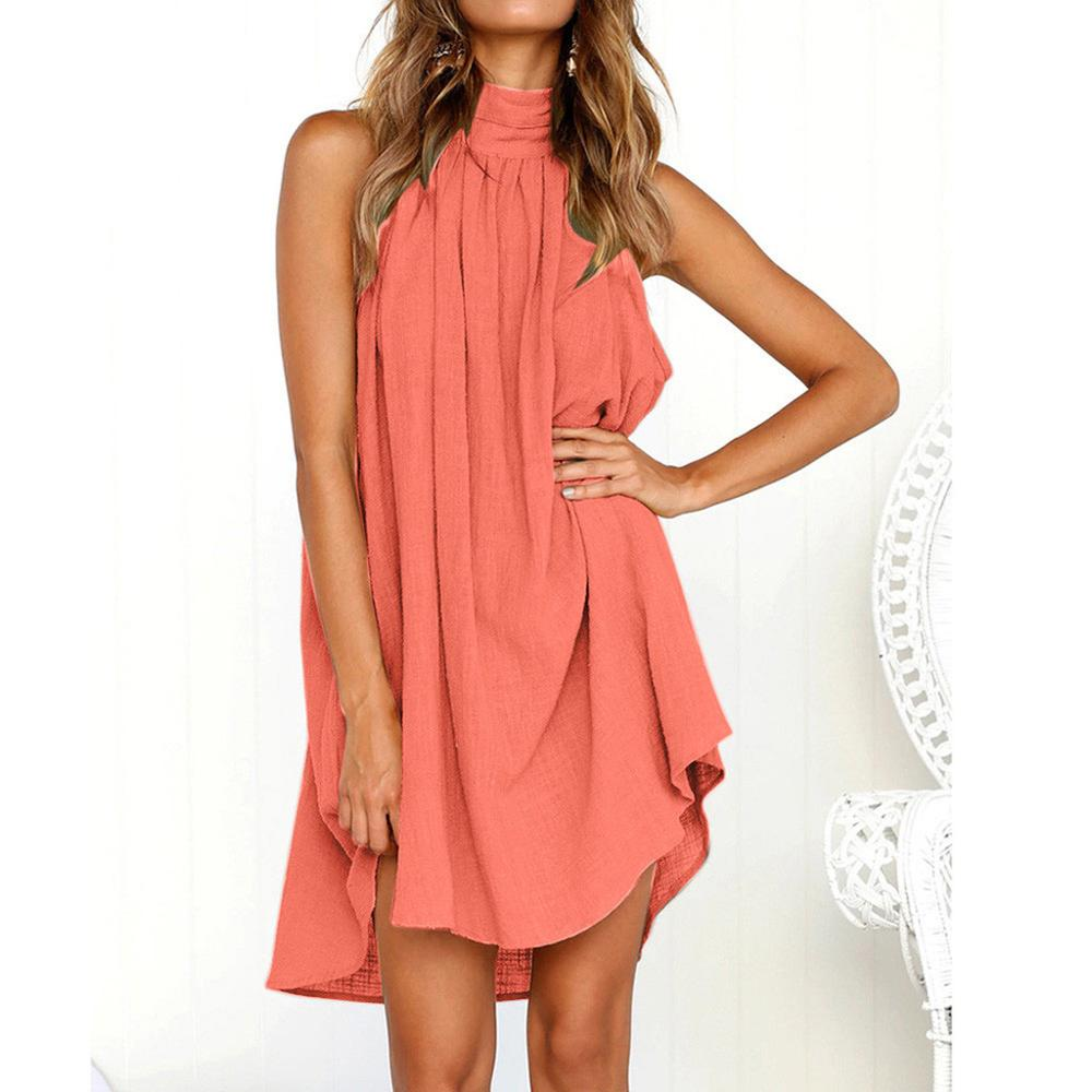 Summer <font><b>Dress</b></font> <font><b>2019</b></font> <font><b>Women</b></font> <font><b>Sexy</b></font> Casual Brief <font><b>Dresses</b></font> Ladies Solid O Neck Sleeveless <font><b>Dress</b></font> Vestidos de fiesta ropa muje #A image