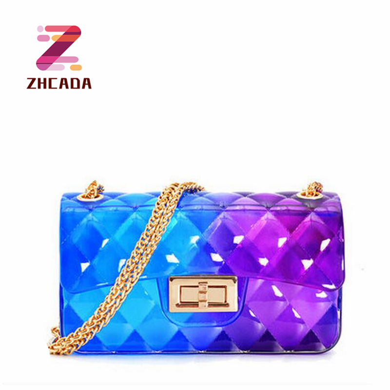 2018 Small Chain Women Bag Summer PVC Jelly Women Messenger Bags Fashion Wome Chain Shoulder Crossbody Bag