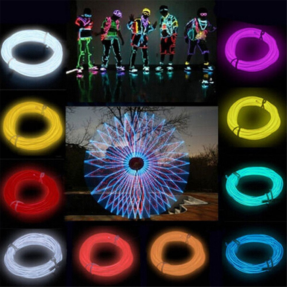 2/3/5M Waterproof LED string Light Neon Light Glow EL Wire Rope Tube Cable+Battery Controller For Car Christmas Decoration Party ...
