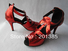 Wholesale Ladies Red Snakeskin Print Sexy Salsa Ballroom Tango Latin Dancing Shoes Size 5,5.5,6,6.5,7,7.5,8,8.5,9,9.5,10