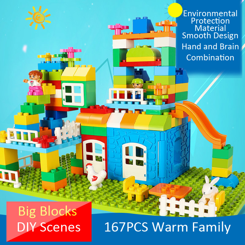 New Fashion Diy Various Large Particles Building Blocks Swing Dinosaurs Figures Animal Accessories Compatible Legoingly Duploed Toy For Kids Punctual Timing Model Building