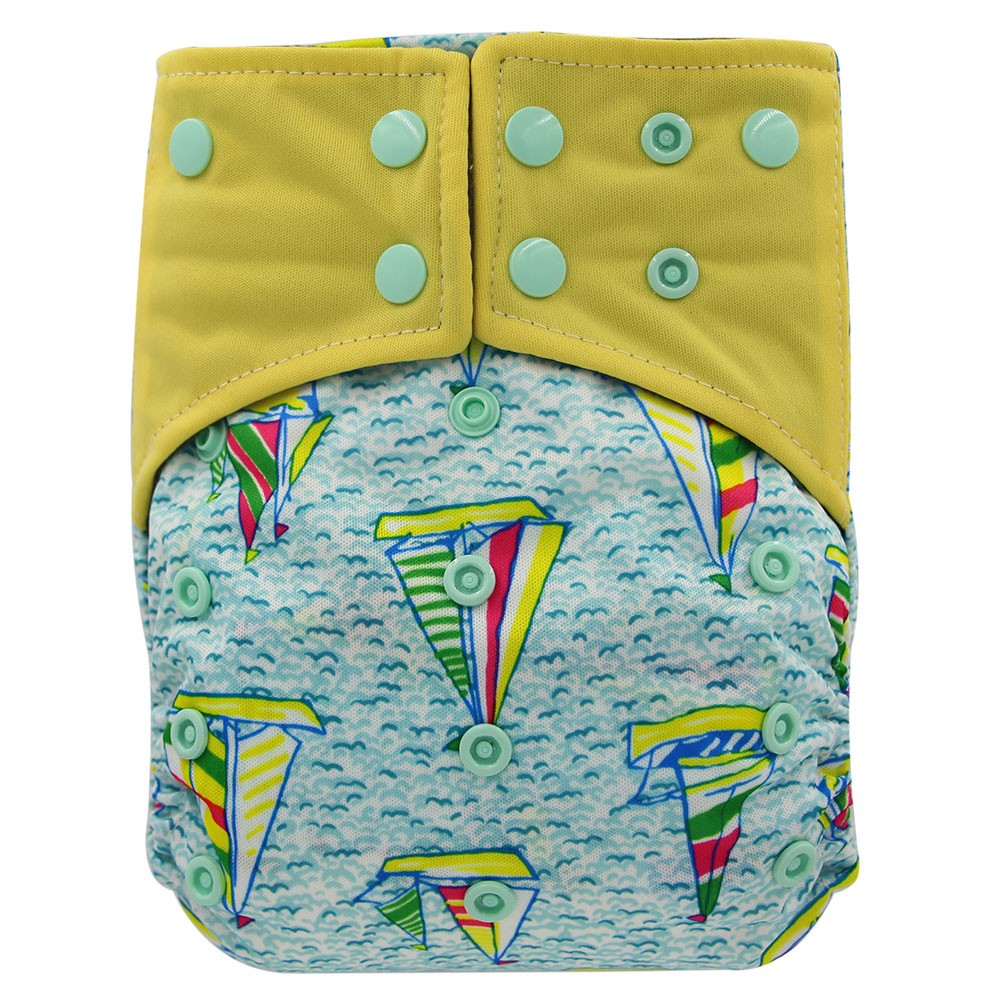 Ohbabyka Brand Baby Cloth Diapers Bamboo Charcoal Reusable Nappies Cartoon Patterns Print All In Two Washable Baby Diaper Cover baby diapers double guest charcoal bamboo night sleepy two pockets diaper reusable cloth diapers with sewn insert layer cover