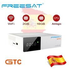 FREESAT gtmedia GTC Android 6.0 TV BOX DVB-S2 DVB-T2 dvb-c ISDBT Amlogic S905D 2GB RAM 16GB ROM support iptv m3u cccam bluetooth