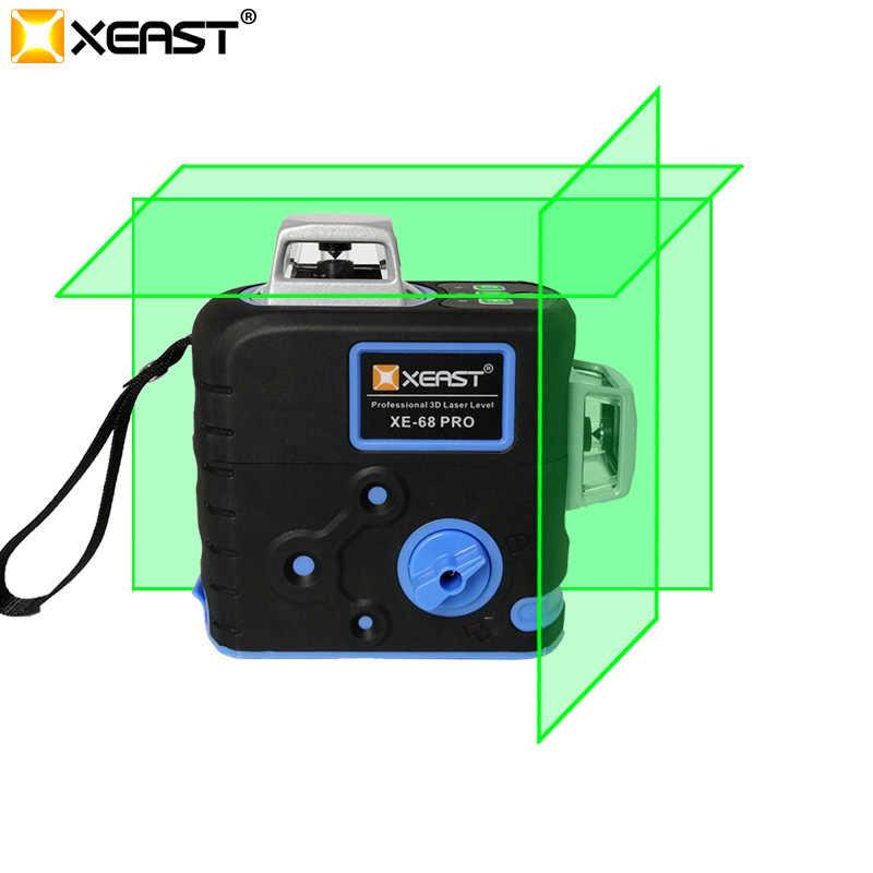2020 XEAST 3D lazer seviyeleri 12 satır çapraz seviye kendini tesviye açık 360 döner yeşil lazer manyetik merdiven braketi